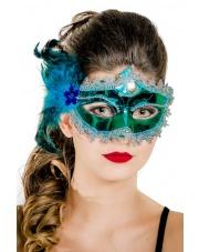 """Maska wenecka """"Mademoiselle"""" – seledynowa / zielona"""