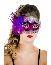"Maska wenecka ""Mademoiselle"" - fioletowa"