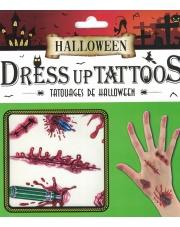 Tatuaże Halloween Nożyczki, rany, szycia, śruby