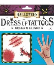 Tatuaże Halloween Ohydne Blizny, robale, rany