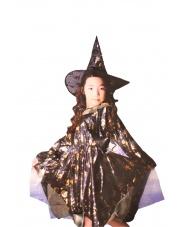 Strój Czarownica w złote wzory w kapeluszu 95-130 cm.