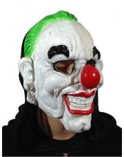 Maska uśmiechnięty Klaun Joker z zielonymi włosami