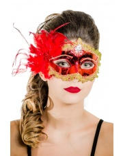 """Maska wenecka """"Mademoiselle"""" – czerwona"""