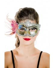 "Maska wenecka ""Mademoiselle"" – srebrna"
