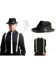 ZESTAW Białe Szelki Krawat Kapelusz Gangstera 20'