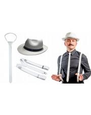Zestaw GANGSTERA Białe Szelki Krawat Kapelusz 20'