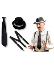 Zestaw GANGSTERA Czarne Szelki Krawat Kapelusz 20'