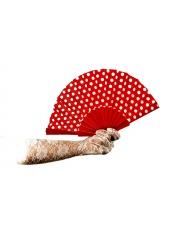 Wachlarz PIN-UP w grochy Polka Style Lata 50 60 - Czerwony