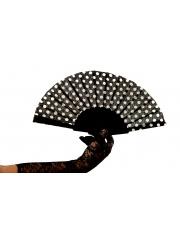 Wachlarz PIN-UP w grochy Polka Style Lata 50 60 - Czarny