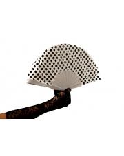 Wachlarz PIN-UP w grochy Polka Style Lata 50 60 - Biały